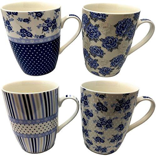 Juego de 4 tazas de porcelana fina, muchos diseños, bien embaladas, alta calidad - Blue Floral, Stripe and Polka Dot