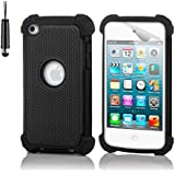 32nd® Shock Proof case cover for Apple iPod Touch 4 (4th generation) + screen protector, cleaning cloth and stylus pen - Black