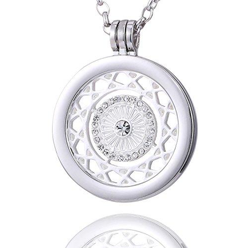 Morella Mujeres Collar 70 cm Acero Inoxidable y Colgante Amuleto Coin 33 mm Ornamento con Piedras de circonita de Color Plata para Damas, en Bolsa para Joyas