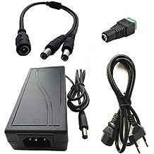 Eleidgs 12v 12V 5A 60W Caricatore, Alimentatore, Trasformatore Cavo Adattatore + DC 1 femmina a 2 maschio 5,5 X 2,1mm DC Splitter Cavo + DC 2.1mm x 5.5mm Female Power Plug