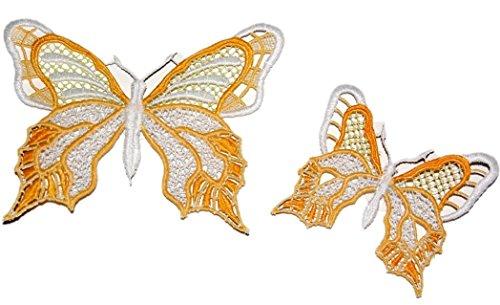 Fensterbilder SET Plauener Spitze  Schmetterlinge Sekt Gelb 2 Stück mit Saugnapf Spitzenbild...