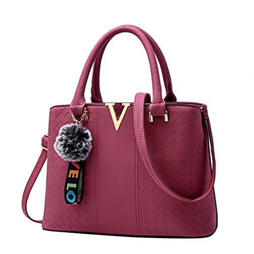 Baymate Handtasche Damen Henkeltasche Elegante Umhängetasche PU Leder Schultertasche Dunkel Pink
