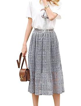 Falda Larga De Mujer Encaje Elegante Plisada Playa de Maxi Largo Mujer Elástico Cintura Faldas
