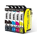 Foiset 5 Pack Ersatz für Epson 29XL Tintenpatrone Kompatibel mit Epson XP-342 XP-442 XP-235 XP-432 XP-432 XP-445 XP-435 XP-245 XP-445 XP-345 Drucker (2 Schwarz, 1 Cyan, 1 Magenta, 1 Gelb)