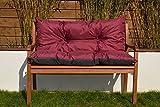 Cristal Gartenbankauflage Bankauflage Sitzpolster Bankkissen Sitzkissen und Rückenkissen Polsterauflage leicht zu reinigen (170 cm, Bordeaux)