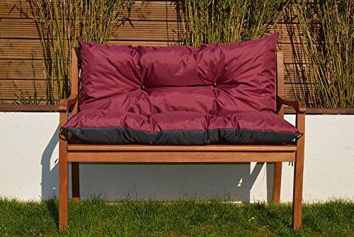 Gartenbankauflage Bankauflage Sitzpolster Bankkissen Sitzkissen und Rückenkissen Polsterauflage leicht zu reinigen 120 cm (Bordeaux)