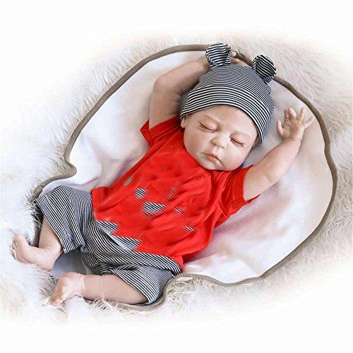 Soft 23 inch 57 cm realistische Reborn Babies voll Silikon Vinyl realistische Boy Body Baby Dolls mit geschlossenen Augen Kinder Sleeping Toy Geburtstag Weihnachten Hochzeit Geschenk Verringerung Angst helfen Autismus schwangere Frauen