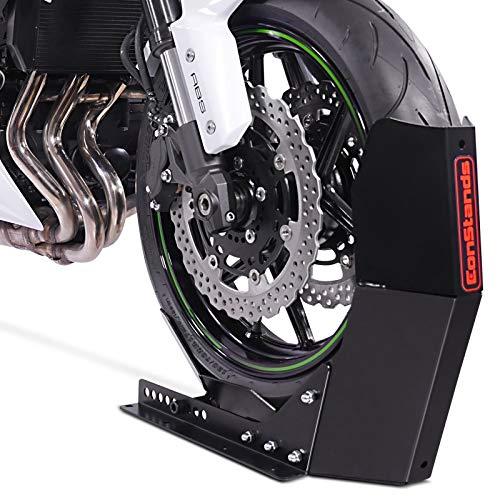 ConStands Easy Transport Fix - Motorrad Wippe Schwarz für Anhänger Vorderrad Transportständer Motocross Roller