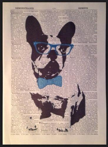 Französische Bulldogge Print Vintage Wörterbuch Seite Art Wand Bild Hipster Brille