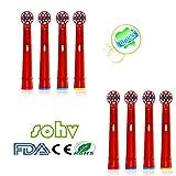 Sohv® Elektrische Zahnbürste Ersatz Heads Passend für KIDS für Braun Oral-B Stages Power-Kids Bürstenköpfe Pack-Bürsten-Kinder-Köpfe EB10-4,8 stk(2x4)