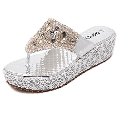 dqq femmes string perles plate-forme Wedge Sandal Argent - argent