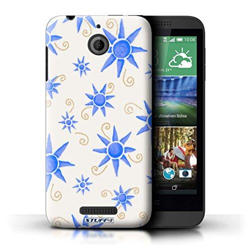 Kobalt® Imprimé Etui / Coque pour HTC Desire 510 / Vert/Blanc conception / Série Motif Soleil Bleu/Blanc
