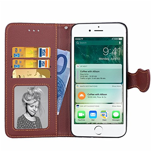 iPhone 7 Plus Coque, Apple iPhone 7 Plus Coque, Lifeturt [ Noir ] [book-style] Flip Case Coque en PU Cuir Housse de Protection Étui à rabat Case Cover Ultra Slim Portefeuille PU Cuir avec stand de Car E02-Marron3600