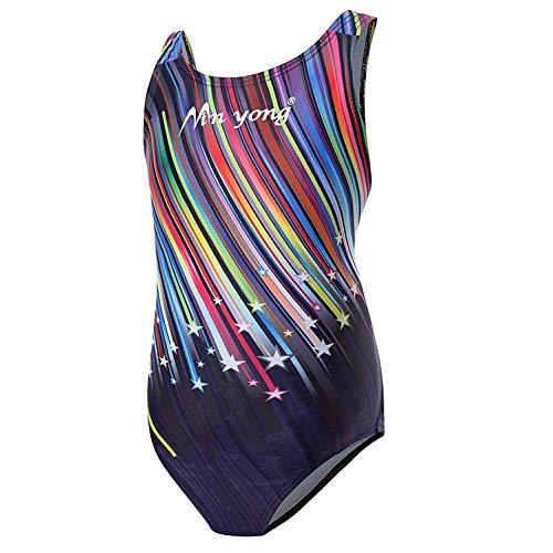 Kinder Mädchen Schwimmanzug Badenmode Badeanzug Einteiler one Piece (eine oder Zwei Größe großer) Meteorschauer160cm (Für Große Mädchen Badeanzug)