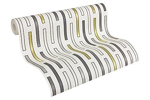 Architects Paper Vliestapete AP 2000 Design by F.A. Porsche Tapete DashLine puristisch 10,05 m x 0,53 m grau metallic weiß Made in Germany 303502 30350-2