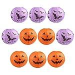 """Kesoto Halloween Lanterna di Carta 10"""" Lanterne con Designo di Zucca e Pipistrello Lanterne di Carta per Halloween, 5 Arancia + 5 Viola"""