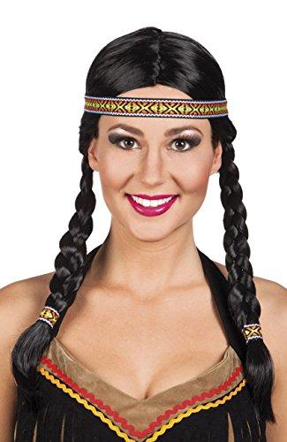 NEU Perücke Indianerin, mit Zöpfen und -