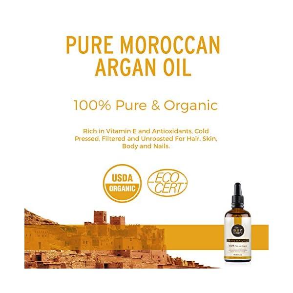 The Body Source – Puro Aceite de Argán 100% Orgánico, Rico en vitamina E y Antioxidantes Adecuados para el Cabello, la Piel, el Cuerpo y las Uñas, 100ml