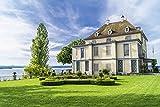 Artland Qualitätsbilder I Alu Dibond Bilder Alu Art 90 x 60 cm Architektur Gebäude Foto Grün C1GV Schloss Arenenberg an Einem schönen Sommertag