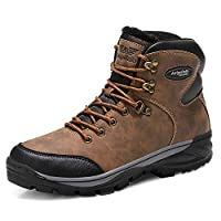 AX BOXING Mens Snow Boots Winter Warm Ankle Boots Fully Fur Lined Anti-Slip Hiking Walking Work Boots for Men (7 UK, A87351-Brown)