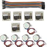 Keywish Motor de Pasos para Arduino 5pcs 28BYJ-48 Motor de Pasos 5V + ULN2003 Motor Conductor de Placa + Dupont Cable 20pin