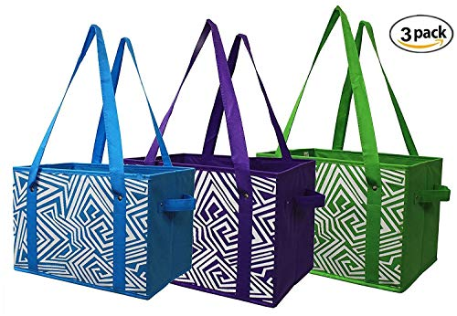 Earthwise Reusable Grocery Bag Shopping Box Tote Collapsible Bag With Reinforced Bottom In 3 Bright Colors (Set Of 3)