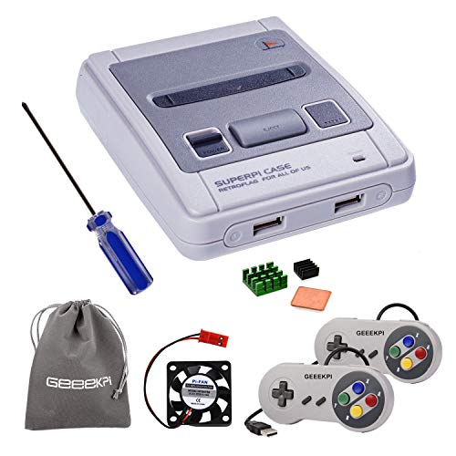 GeeekPi Retroflag Funda SUPERPI Case NESPI Funda JCase SFC con 2PCS...