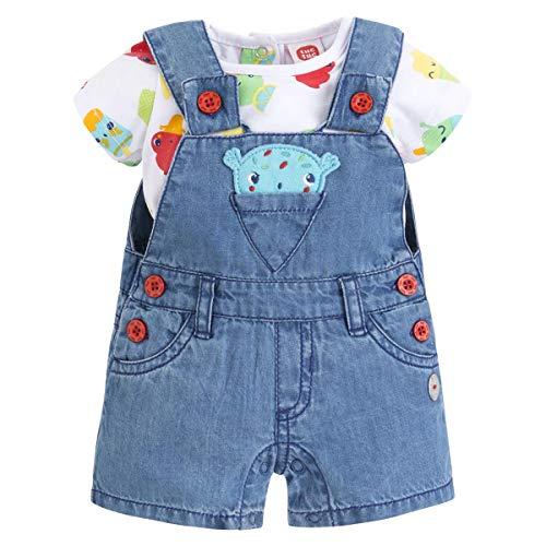 Tuc Tuc Peto Vaquero+Camiseta Punto NIÑO Cute Ice Petos, Bebé-Niños, Azul (Azul...