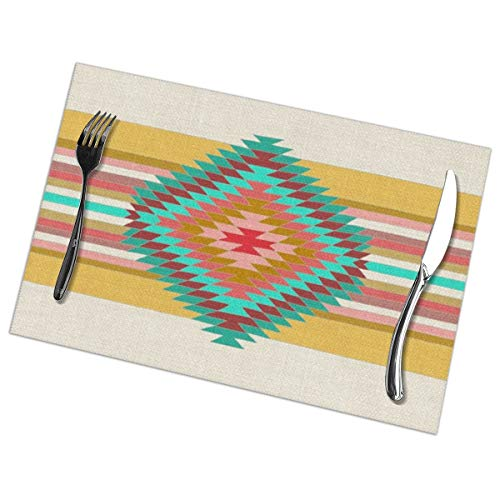 Myhou Platzsets, Dining Table Placemats Sets of 6 Heat Resistant Washable Table Mats Fiesta Teal Fiesta Blue Plate