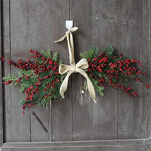 Wuwenw Weihnachten Amerikanische Sackleinen Kirsche Tür Hängen Hotel Fenster Handgemachte Girlande Ornament Anhänger 50Cm (Sackleinen-anhänger-beleuchtung)