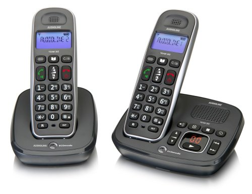 Audioline 901998 schnurloses DECT-Telefon-Set mit Freisprechen (beleuchtetem Display und Anrufbeantworter) Telefon-sets