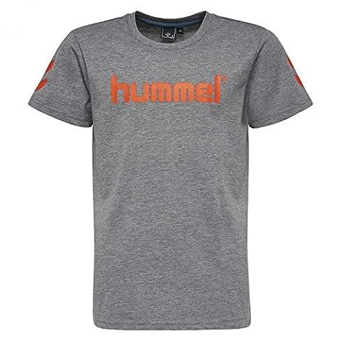Hummel T-Shirt Jungen - JUNIOR V JAKI SS TEE AW17 - Trainingsshirt kurze Ärmel - Fitnessshirt Freizeit & Sport - Shirts 104-164 div. Farben Rundhals, Medium Melange, 128