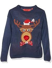 The Christmas Workshop Boy's Reindeer Head Long Sleeve Jumper