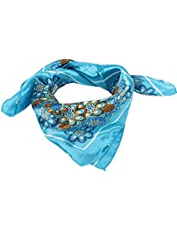Spring Wear Blue Brown White Floral Prints Kerchief Scarf for Lady