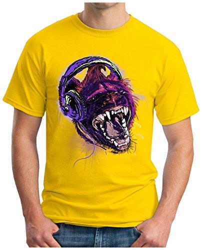 OM3 - WILD-MUSIC - T-Shirt HEADPHONE LION DOPE ALTERNATIVE PUNK INDIE EMO GEEK, S - 5XL Gelb