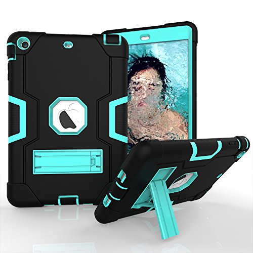 Nfl Samsung Protector (iPad Mini Case, iPad Mini 2 Case, iPad Mini 3, beimu 3 in1 Hybrid, Defender Robuste Hülle Silikon Hard Case Full Body Schutzhülle mit Ständer für Apple iPad Mini 1/2/3, Black+Aqua)