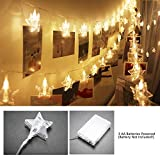 20 LEDs Star Foto Peg Clip Guirnaldas luminosas, SiFar 3 modos Photo Light Chain blanco cálido con pilas, para fotos, obras de arte, fiesta, Navidad, decoración