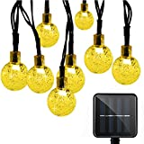 Solar String Lights, EMIUP 30 LED 8 Modes Solar Powered Crystal Ball String Lights Decorative Lighting for Garden, Yard, Home, Party, Wedding (Warm White)