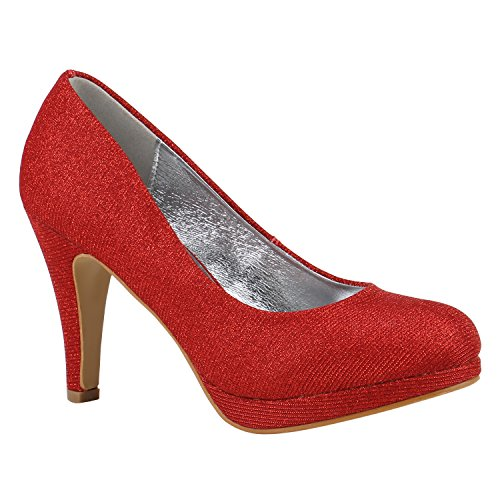 Elegante Klassische Damen Schuhe Pumps Glitzer Abendschuhe 155898 Rot Berkley 38 Flandell