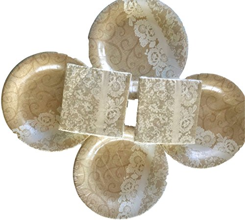 Rustikal Jute & Lace 48bedrucktes 20,3cm Gedeck Teller & Passende Servietten, Hochzeit, Dusche, uns, Jubiläen, Geburtstage, Muttertag, Tee Party