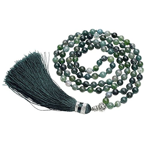 QGEM Schmuck 108 Perlen Edelstein Yoga Armband Om mani Padme hum Buddha Buddhistische Tibetische Gebetskette Healing Reiki Mala Kette Halskette mit Fransen/6mm-Kugelsteine