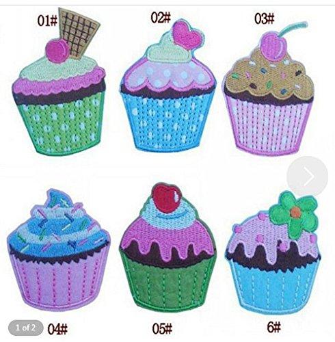 Lumanuby Bunt Cupcake Patch Set von 6pcs Eis Kuchen für Kinder T-Shirt/Jacken Stickerei Applikationen Aufnäher von Dessert Form Zufällige Farbe, Aufnäher Serie Size 4.7 * 6.0cm (Eis Kinder T-shirt)