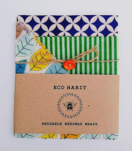 Set von 3 100% Natural Beeswax Food Wraps, Natürliche Bienenwachstücher Lebensmittelwraps