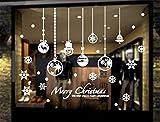 LCXYYY Fensterfolie Weihnachten Schneeflocken Fensterbilder Statisch Haftende PVC-Sticker Weihnachten Fensterdeko Aufkleber WandtattooFensteraufkleber Weihnachten Kugeln Sterne