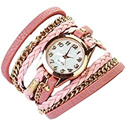 Ukamshop(TM)1PC Leather Strap Braided winding Rivet Bracelet Watches Wristwatch (Pink)
