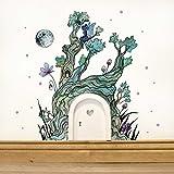 ilka parey wandtattoo-welt® Elfentür Feentür Wichteltür mit Wandtattoo Aufkleber Sticker Baum im Zauberwald mit Elfe Mond und Punkten e06 - ausgewählte Farbe der Holztür: *weiß*
