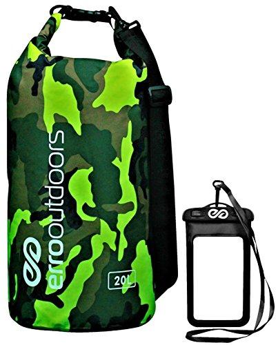 ERRO (Outdoor Wasserdicht Dry Bag und Bonus Wasserdichte Handy-Schutzhülle für Kayaking, Camping, Wandern, Bootfahren, Fischen,..., grün camo -