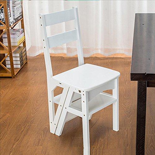 Nimm einen Stuhl Haushalt Multi-Funktions-Leiter Hocker Massivholz Kinder Klappstuhl Dual-Vier-Stufen-Leiter Klettern Leiter/Klappstuhl Barhocker (Farbe : Weiß) (Multi-funktion Leiter)