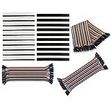 COM-FOUR Set Stiftleiste Single Reihe 10x männliche und 10x weibliche 40 Pin PCB Kopfleiste 2,54mm + 40x Steckbrücken M/M, 40x Steckbrücken M/W, 40x Steckbrücken W/W