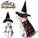 Costumi di Strega Halloween per Cani Gatto, Morbuy Invernali Mantello Pet Abbigliamento per Piccoli Grandi Maschi Femmine Travestimento Vestiti con Cappello Decorazioni (L,Cappotto da Mago)